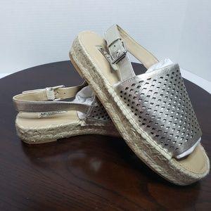 GILI Gold Leather Slingback Espadrille Sandals 7.5